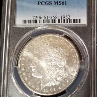 1891-CC Morgan Dollar PCGS MS61